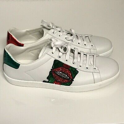 26eff60f0f2e GUCCI ACE LIP-EMBROIDERED Leather Low-Top Sneakers in White sz. 40 ...