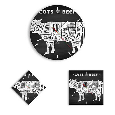 WALL CLOCK - CLOCK ON GLASS Cow Beef cooking graphic 3156 UK