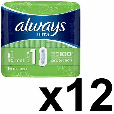 Always Ultra Normal Sanitary Towels Pads Size 1 Women Super Absorbent - 192 Pack
