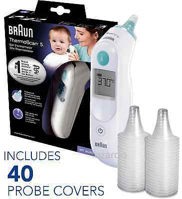 NEW Braun ThermoScan 5 IRT6020 Baby Digital Ear Thermometer with 40 Probe Covers