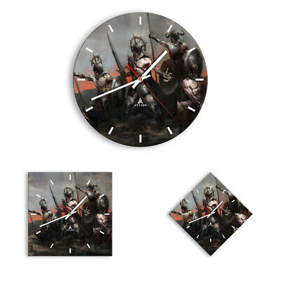 WALL CLOCK - CLOCK ON GLASS knight armor 3641 UK