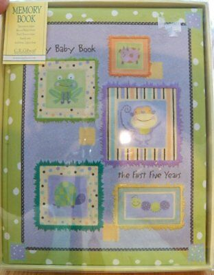2003 C.R. Gibson BABY MEMORY RECORD BOOK~Polka Dot Piggy~Padded Cloth Cover NEW