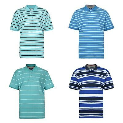 Big Plus Size Mens Short Sleeved Striped Cotton Polo Top T Shirt 2XL - 8XL