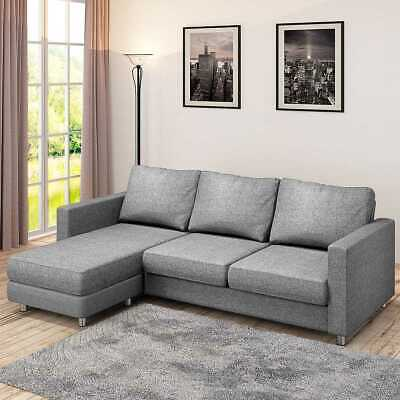 MODERN FABRIC / PU L Shaped Corner Sofa Set 3 Seater Sofa Universal ...