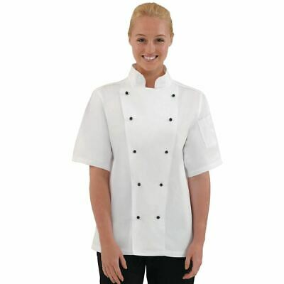 Whites Chicago Chef Jacket - Short Sleeves - White & Black Buttons - XS