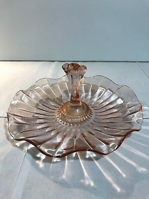 Vintage Pink Depression Glass Tidbit Candy Serving Tray 7""
