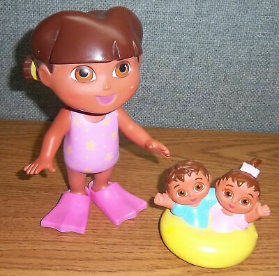 00efc2803f5a1 SPLASH AROUND DORA & TWINS Flippers Bath Pool Time Toy Fisher Price Explorer