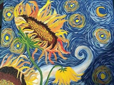 Acrylic on Canvas Homage to Van Gogh Starry Night-Sunflower paintings 16 x 20