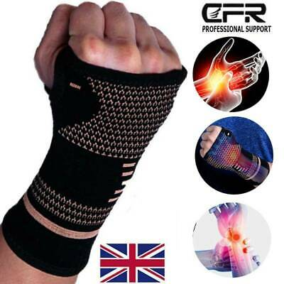 Compression Copper Hand Wrist Support Brace Gloves palm Anti-Arthritis protect