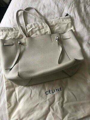 AUTHENTIC PRE-OWNED CELINE Small Cabas Phantom (white) w  dust cover ... 6b6f2f9296693