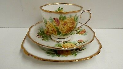 Royal Albert Yellow Tea Rose China Porcelain Trio Cup Saucer Plate No. 839056 #1