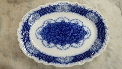 Antique Victorian Marlborough Flow Blue Pottery China Dinner  Meat Plate Platter