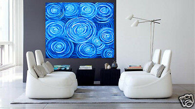 "Art Painting Australia Huge blue dreampools by jane crawford 39"" COA aboriginal"