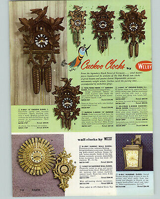 1956 PAPER AD Handcarved Black Forest Welby Clocks 30 Hour 2 Door Cuckoo Quail