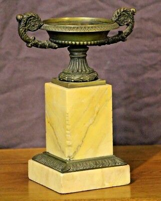 Tall French Empire patinated bronze ormolu URN marble vase 1820 cassolette Tazza