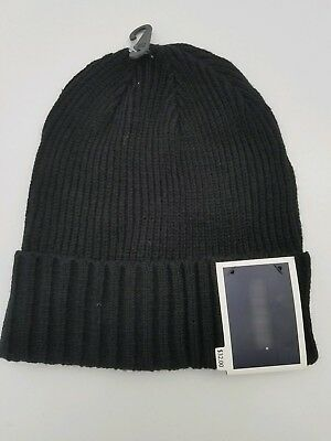Men s Beanie Hat CLUB ROOM Winter Knit Cuffed Ski Cap Black One Size NWT dc6ffc075d3d