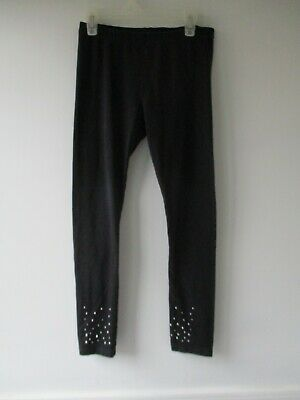 The Children's Place Girl's Size L 10/12 Cotton Blend Solid Black Leggings Pants