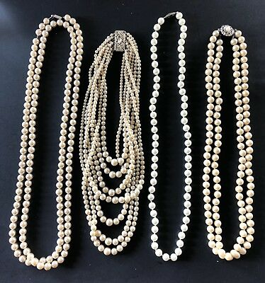 Art Deco Mid Century Faux Pearl Necklace Lot of 4 Filigree Box Fish Hook Clasps