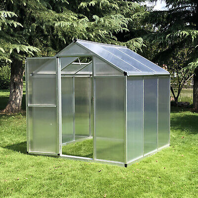 Outsunny 6'x6.25'x6.4' Outdoor Planting Shed Walk-In Cold Frame Greenhouse