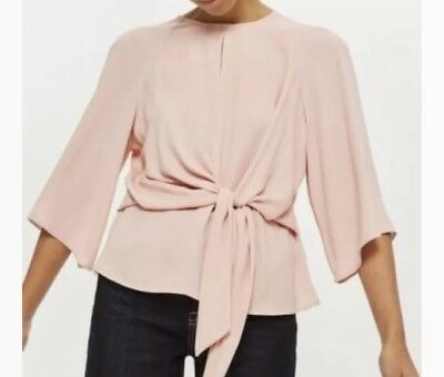 e4210ba7eb Topshop Slouchy Knot Front Top Blouse 2 (XS) Shirt Tee Blush Pink Keyhole  Tie