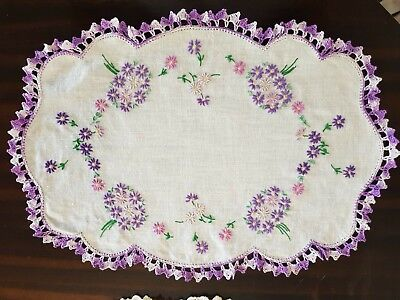 Vintage Purple Embroided Crochet Edge Doiley / Duchess