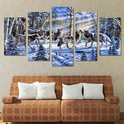 Pack of Wolves Wolf  in Snow Canvas Wall Art Panel Print Picture Canvas