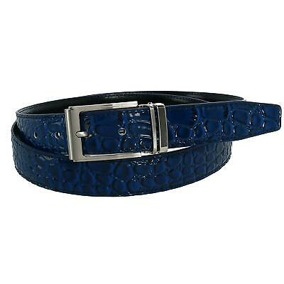 New CTM Leather Croc Print Dress Belt with Clamp On Buckle