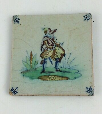 Antique 18th c Dutch delft polychrome tile of a drummer soldier tin glazed
