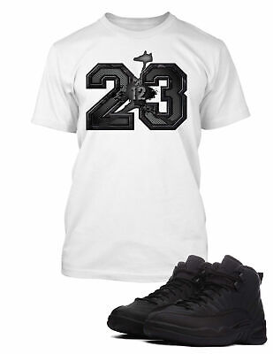 43838598393de3 23 Tee Shirt to Match Retro Air Jordan 12 Winter Black Shoe Men Graphic Pro  Club