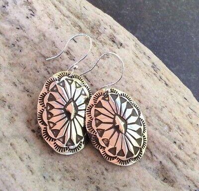 Vintage Stamped Silver Conch dangle Earrings