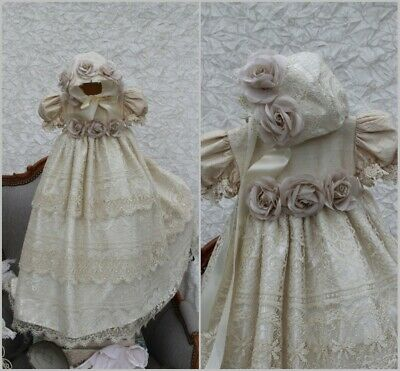 8bdde6dc5 Lace Baptism Baby Gowns Toddler Handmade Flower Christening Dresses With  Bonnet