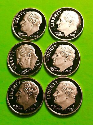 2013-S — 2018-S SILVER ROOSEVELT DIME  6 Coin Run Gem Deep Cameo Proof SILVER..