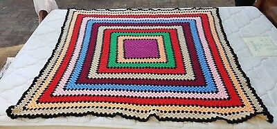 Large Colourful Vintage Hand Made Nana Crochet/knitted Squares Blanket/throw.