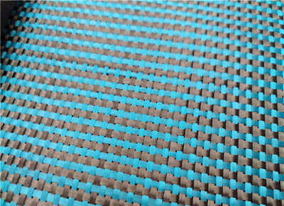 230gsm Lake Blue Aramid Carbon Fiber Blended Fabric mixed carbon cloth 100*50CM