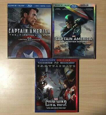Captain America 3D Bluray Trilogy With Oop Slipcovers Rare Marvel Disney