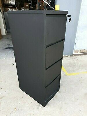 J.Burrows Matrix 4 Drawer Black Filing Cabinet + keys new but with minor marks