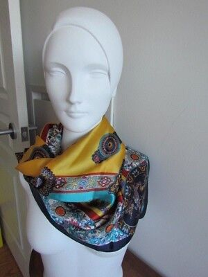 Silk Satin Scarf Lot Oriental Dragon Geometric Stripes New Excellent Turquoise