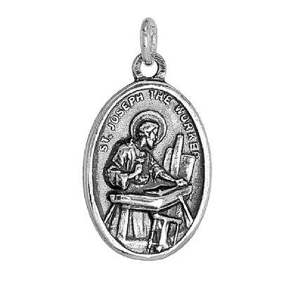 Sterling Silver St. Joseph the Worker Medal Pendant / Charm
