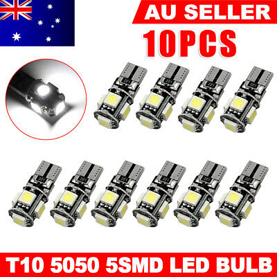 10PCS CANBUS T10 Wedge 5SMD Parker Plate LED Bulbs W5W 194 168 131 WHITE AU