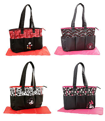 Disney Mickey Minnie Mouse Triple Pocket Baby Diaper Bag Nappy Bottle Tote Bag