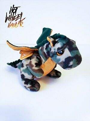 ddcb3dab693 Ty Beanie Babies RAZOR the Camouflage Dragon Plush Baby Boos Green Camo Rare  HTF