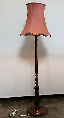 Beautiful Vintage Wooden Standard Floor Lamp With Shade