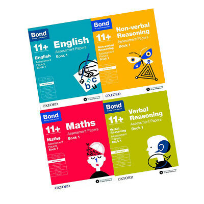 Bond 11+ Maths English Verbal Non-Verbal Assessment Papers 4 Books Collection
