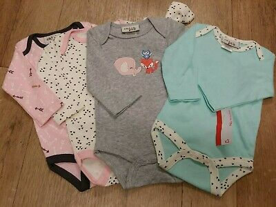 * 4 x Chick Pea Girls long sleeve Body Suits 0-3 Months * BNWT