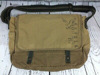 eec89020f5 AMERICAN EAGLE OUTFITTERS Tan Canvas Logo Front Flap Cross Body Messenger  Bag -  29.95