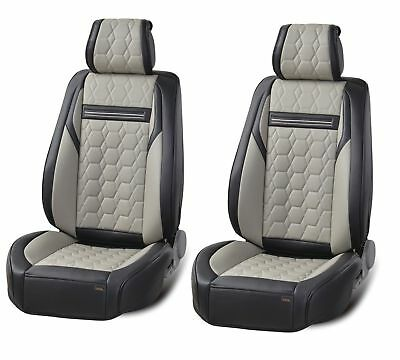 1+1 High-Quality Deluxe Grey Black PU Leather Front Car Van Camper Seat Covers
