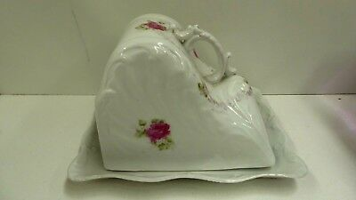 Antique Victorian Cheese / Butter Dish Floral Pink Rose Pottery Ceramic