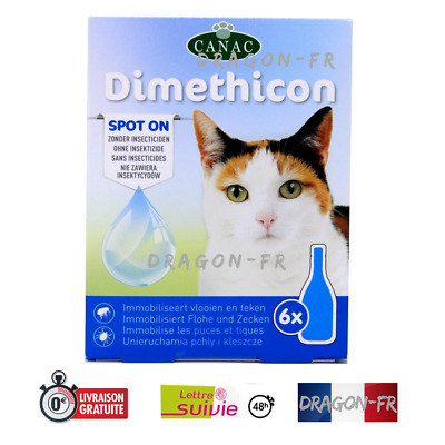 6 Pipettes pour Chat Anti Parasite Puce Tique Spot On Gouttes Dimethicon PROMO
