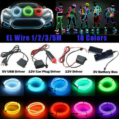 LED Car Interior Atmosphere Glow EL Wire Neon String Strip Lights  Controller