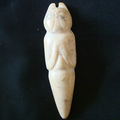 Ancient Asia Hard Stone Jade Carving Zoomorphic Human Body Figure White Rock 113